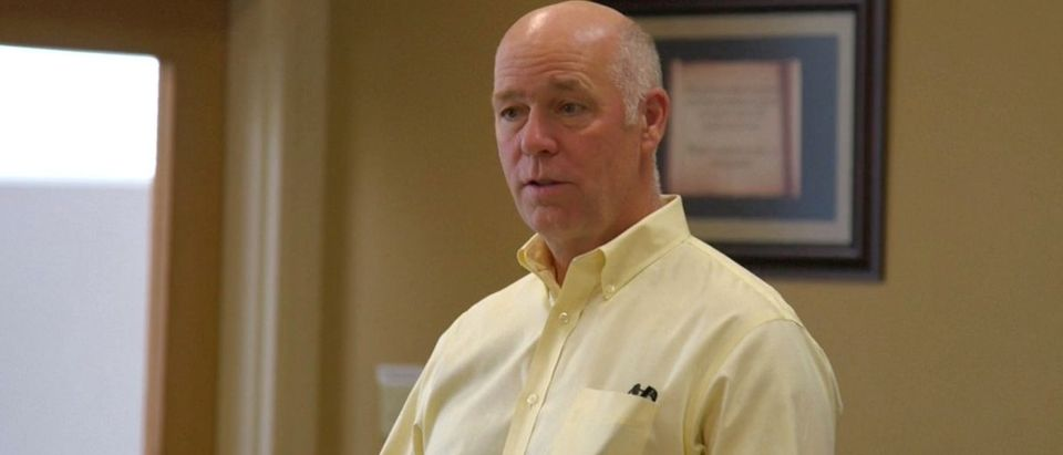 Montana Republican congressional candidate Greg Gianforte speaking to voters while campaigning for a special election in Missoula, Montana, U.S. in this still frame taken from May 24, 2017 video