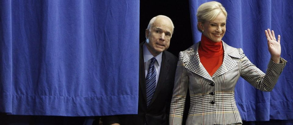 Republican presidential nominee Senator John McCain and his wife Cindy arrive at a rally at Cape Fear Community College in Wilmington, North Carolina