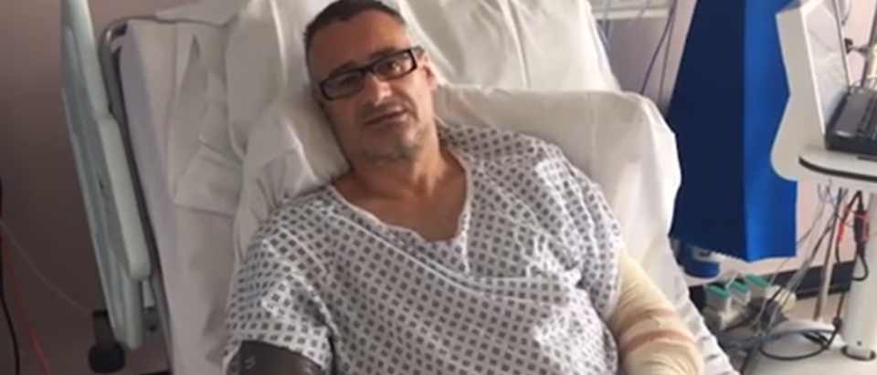 Roy Larner, 47, fought off three terrorists who burst into a restaurant following their vehicle rampage on the London Bridge on June 3, 2017. (Screenshot via The Sun/ thesun.co.uk)