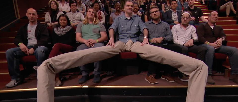 There's A Manspreader in the Audience (Youtube screenshot/Team Coco)