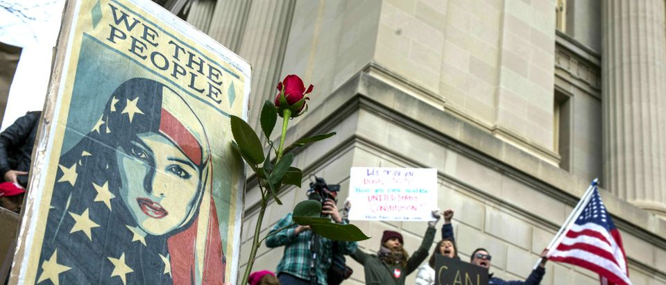 Trump travel ban protest Getty Images/Zach Gibson