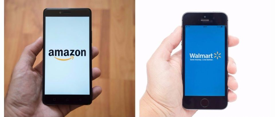Left: Amazon app on a smartphone. [Shutterstock - Pe3k] Right: Walmart app on a smartphone. [Shutterstock - Vdovichenko Denis]