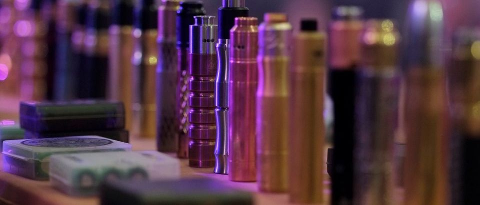 Vape Mods are seen at a stand during the Vape Trade Convention in Mexico City