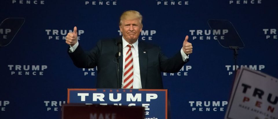 SEPTEMBER 22, 2016: Donald Trump giving the thumbs up gesture as he delivers a campaign speech at Sun Center Studios. (Shutterstock/Evan El-Amin)
