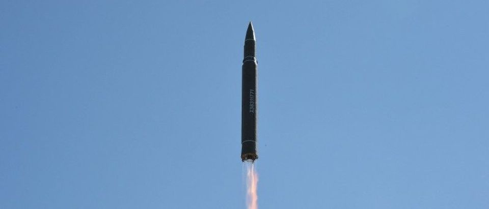 The intercontinental ballistic missile Hwasong-14 is seen during its test in this undated photo released by KCNA in Pyongyang