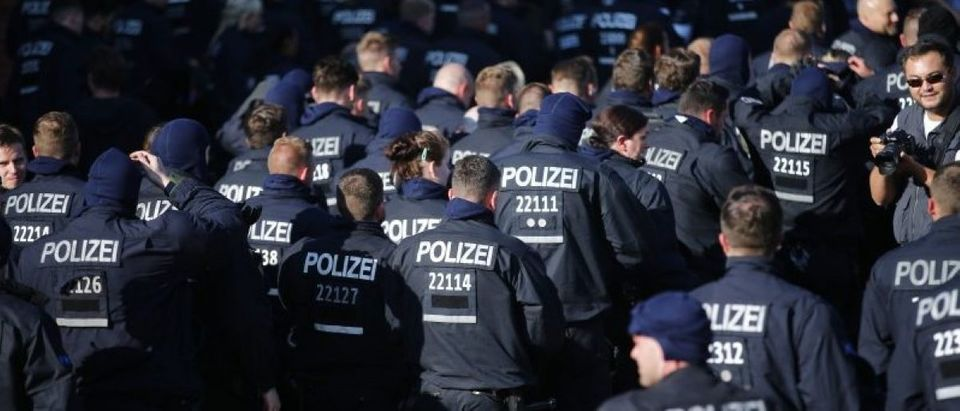 German police arrive before the demonstration during the G20 summit in Hamburg