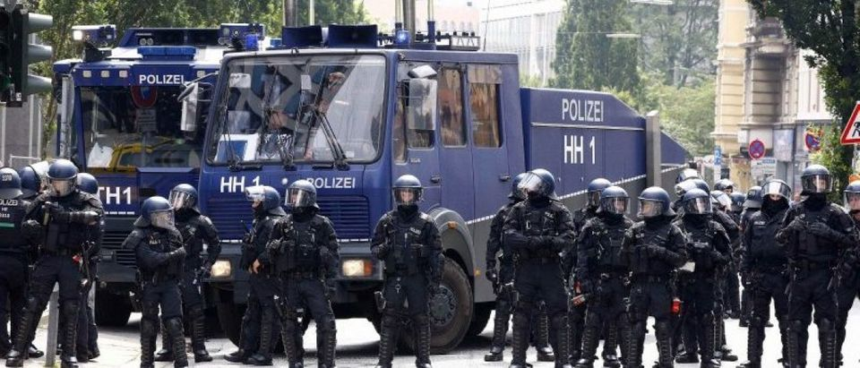 German police stand guard during a demonstration at the G20 summit in Hamburg