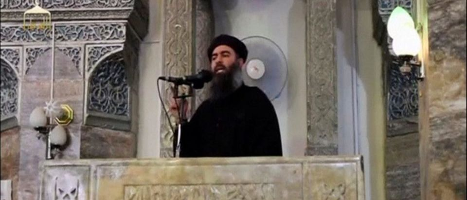 FILE PHOTO: A man purported to be the reclusive leader of the militant Islamic State Abu Bakr al-Baghdadi making what would have been his first public appearance, at a mosque in the centre of Iraq's second city, Mosul