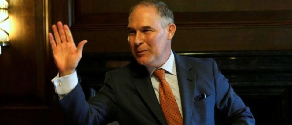Environmental Protection Agency Administrator Scott Pruitt speaks during an interview for Reuters