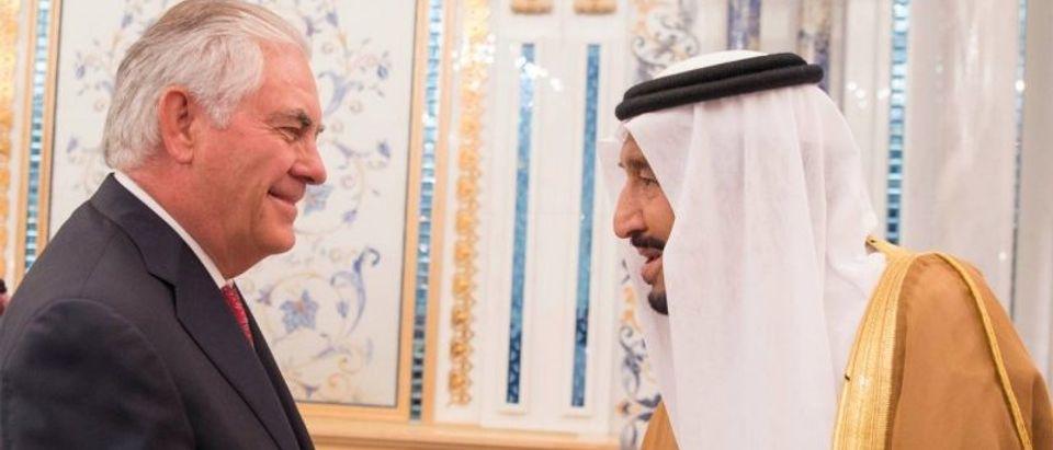 Saudi Arabia's King Salman bin Abdulaziz Al Saud shakes hands with U.S. Secretary of State Rex Tillerson in Jeddah