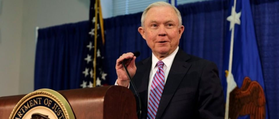U.S. Attorney General Jeff Sessions delivers opening remarks at the Justice Department's 2017 Hate Crimes Summit in Washington