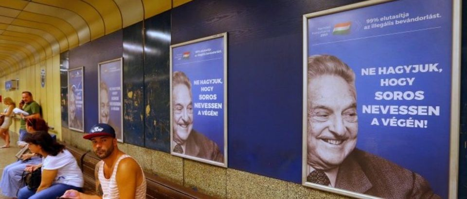 Hungarian government poster portraying financier George Soros in Budapest