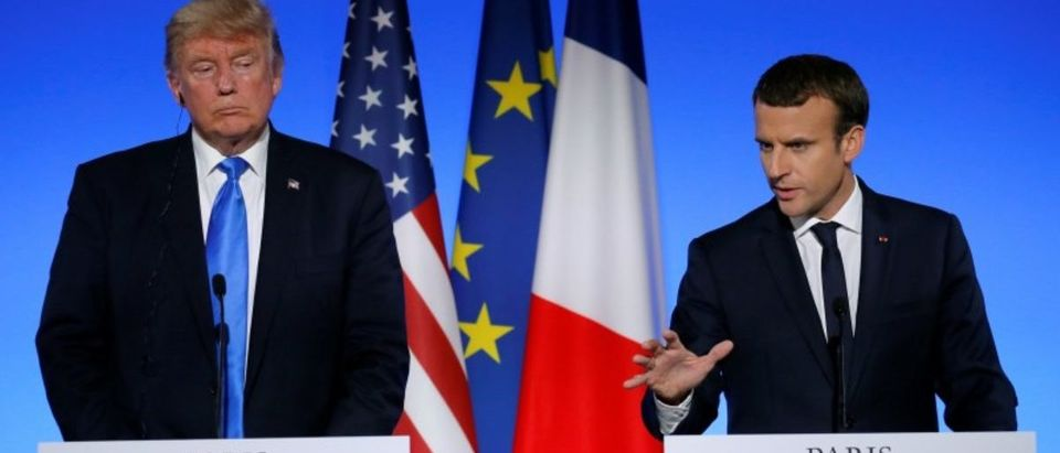 French President Emmanuel Macron and US President Donald Trump attend a joint news conference at the Elysee Palace in Paris