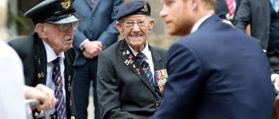 """Dunkirk veterans Arthur Taylor and Garth Wright meet Prince Harry at a reception hosted by Prince Harry ahead of the """"Dunkirk"""" World Premiere at Kensington Palace on July 13, 2017 in London"""
