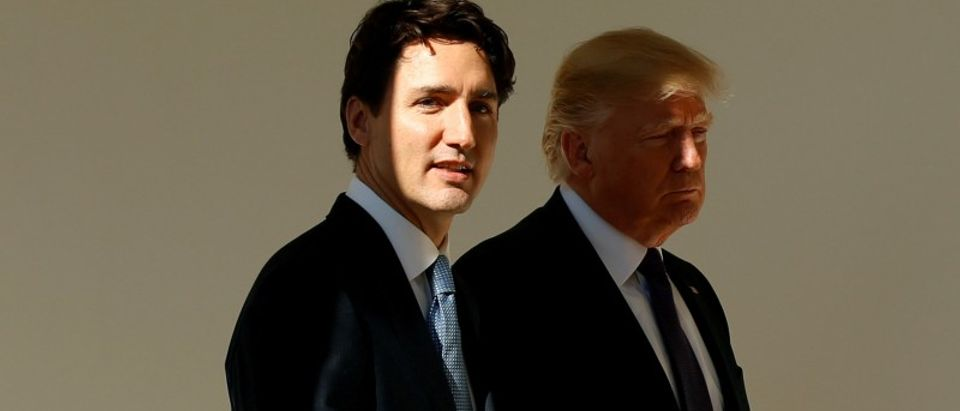 FILE PHOTO - Trump and Trudeau meet at the White House in Washington