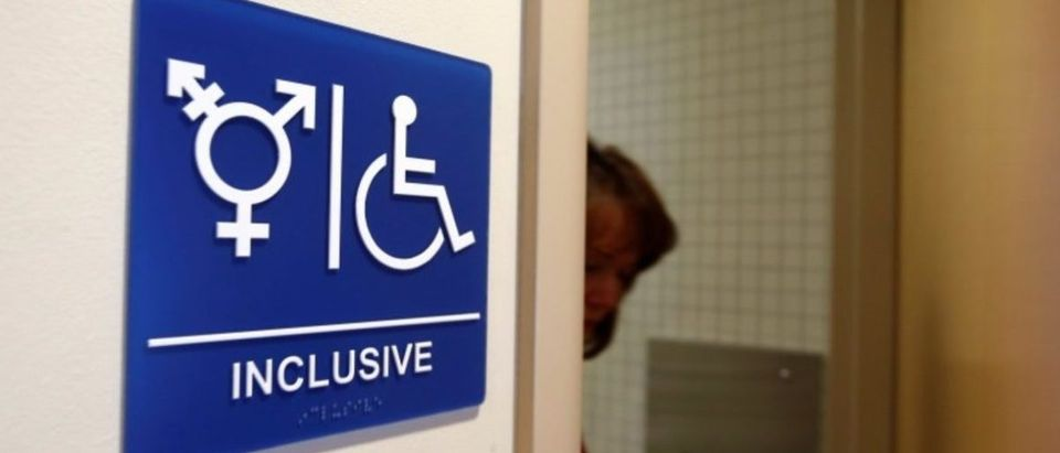 FILE PHOTO: A gender-neutral bathroom is seen at the University of California, Irvine in Irvine, California, U.S., September 30, 2014. The University of California will designate gender-neutral restrooms at its 10 campuses to accommodate transgender students, in a move that may be the first of its kind for a system of colleges in the United States. REUTERS/Lucy Nicholson/