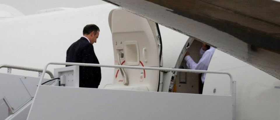 White House Chief of Staff Reince Priebus boards Air Force One to travel with U.S. President Donald Trump to Ronkonkoma, New York from Joint Base Andrews, Maryland, U.S.