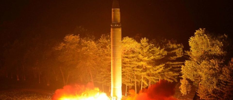 Intercontinental ballistic missile (ICBM) Hwasong-14 is pictured during its second test-fire