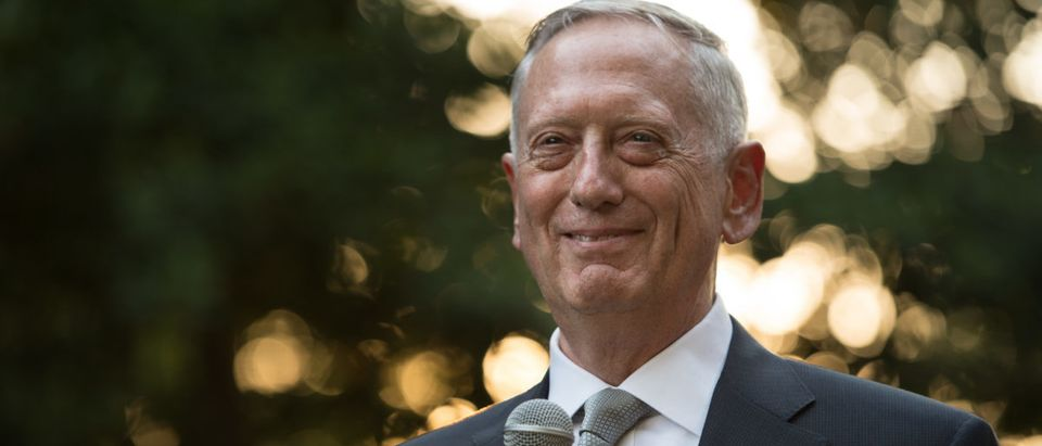 Secretary of Defense Jim Mattis speaks during a garden party before a sunset parade as the invited guest of honor by Commandant of the Marine Corps. Gen. Robert B. Neller and Commanding Officer of the Marine Barracks Washington Col. Tyler J. Zagursk at the Marine Barracks Washington, Arlington, Va., June 30, 2017. (DOD photo by U.S. Army Sgt. Amber I. Smith)