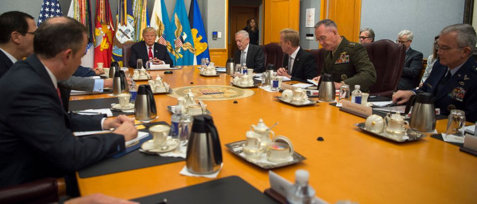 President Donald Trump speaks to members of the National Security Council before a meeting at the Pentagon in Washington, D.C., July 20, 2017 (DOD photo by U.S. Army Sgt. Amber I. Smith)