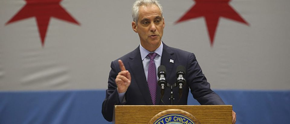 Chicago mayor Rahm Emanuel gives a speech at Malcolm X College in Chicago on Thursday, Sept. 22, 2016, on policing and public safety. (Terrence Antonio James/Chicago Tribune/TNS via Getty Images)