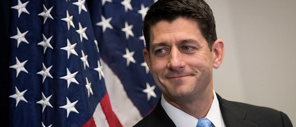 WASHINGTON, DC - JUNE 27: Speaker of the House Paul Ryan looks on during a press conference following a closed-door House GOP conference meeting on Capitol Hill, June 27, 2017 in Washington, DC. (Photo by Drew Angerer/Getty Images)