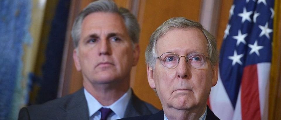Senate Majority Leader Mitch McConnell (R), R-KY, stands next to House Majority Leader Kevin McCarthy, R-CA, AFP PHOTO/MANDEL NGAN