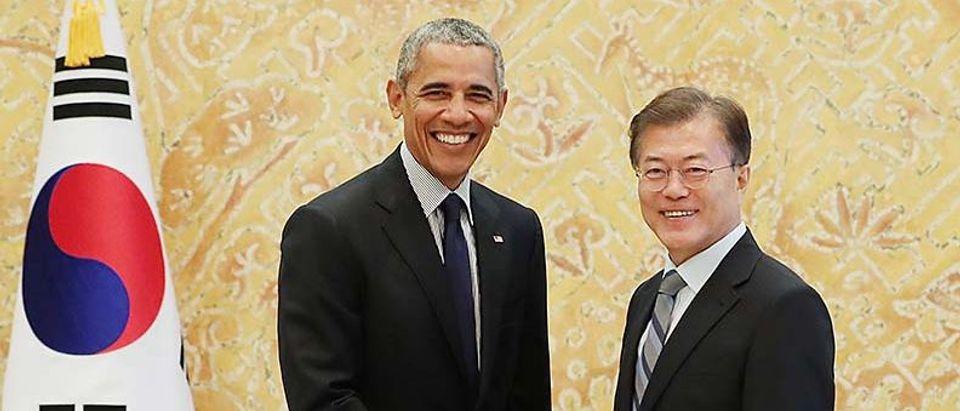 Former US President Barack Obama Meets South Korean President Moon Jae-In