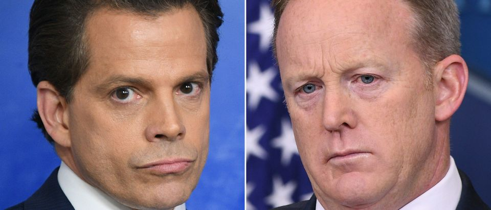 (COMBO) This combination of pictures created on July 21, 2017 shows Anthony Scaramucci (L), named Donald Trump's new White House communications director, at the White House in Washington, DC on July 21, 2017 and former White House Press Secretary Sean Spicer at the White House on May 3, 2017. Spicer quit July 21, 2017 in opposition to Trump's naming of Anthony Scaramucci, a Wall Street financier and longtime supporter of the billionaire investor-turned-president, as the new White House communications director, a White House official told AFP. JIM WATSON,MANDEL NGAN/AFP/Getty Images