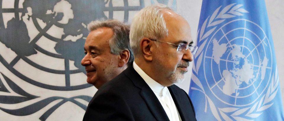 Mohammad J. Zarif, Iranian Minister of Foreign Affairs, walks past UN Secretary General, Antonio Guterres at U.N. Headquarters. REUTERS/Lucas Jackson