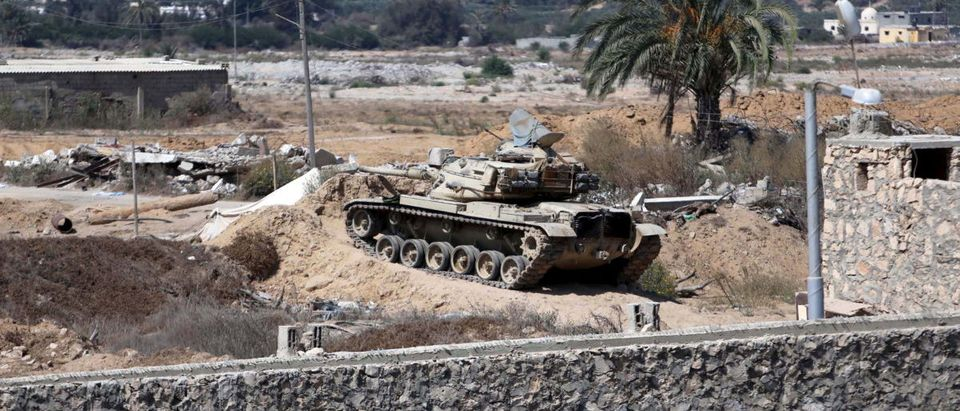 Egyptian tank is seen from the border of southern Gaza Strip with Egypt