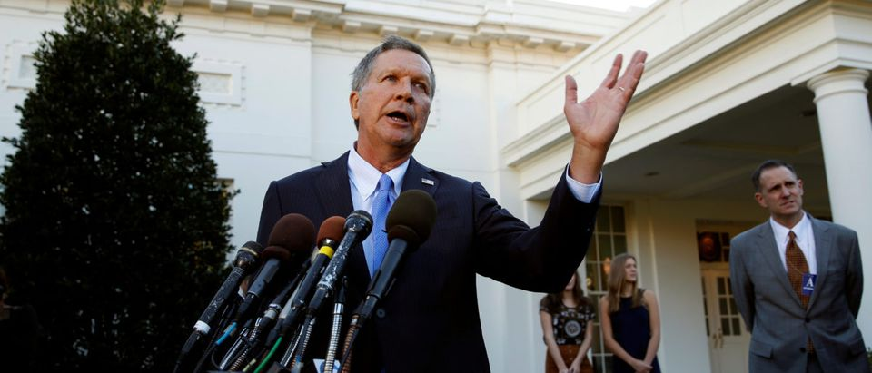 Ohio Governor and former presidential candidate John Kasich speaks to reporters after an event honoring the Cleveland Cavaliers, the 2016 NBA championship team, at the White House in Washington November 10, 2016. REUTERS/Kevin Lamarque