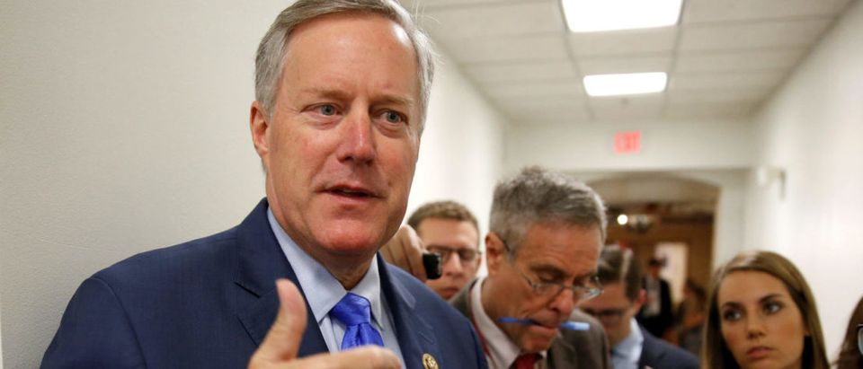 Rep. Meadows, House Freedom Caucus Chairman, speaks to reporters on Capitol Hill in Washington