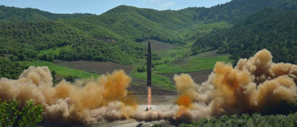 The intercontinental ballistic missile Hwasong-14 is seen during its test launch in this undated photo released by KCNA in Pyongyang