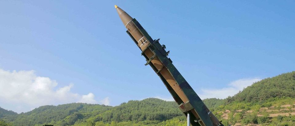 The intercontinental ballistic missile Hwasong-14 is seen in this undated photo released by KCNA in Pyongyang