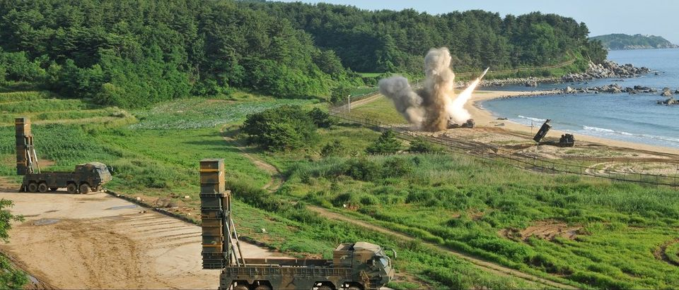 Handout of United States and South Korean troops utilizing the Army Tactical Missile System (ATACMS) and South Korea's Hyunmoo Missile II, fire missiles into the waters of the East Sea, off South Korea