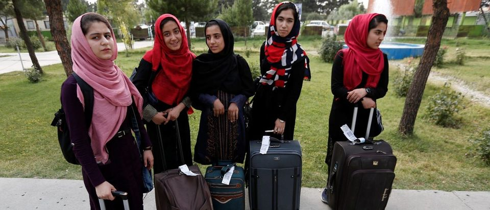 Members of Afghan robotics girls team arrive to receive their visas from the U.S. embassy in Kabul, Afghanistan July 13, 2017. REUTERS/Mohammad Ismail
