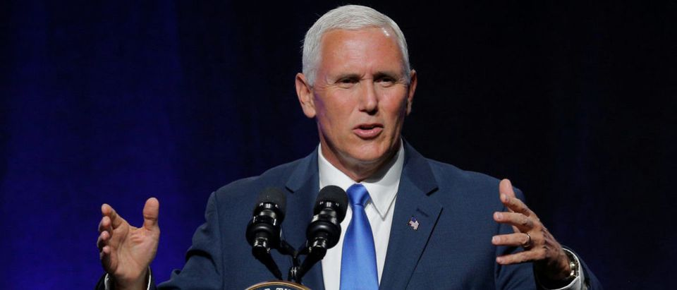 United States Vice President Mike Pence addresses the National Governors Association summer meeting in Providence