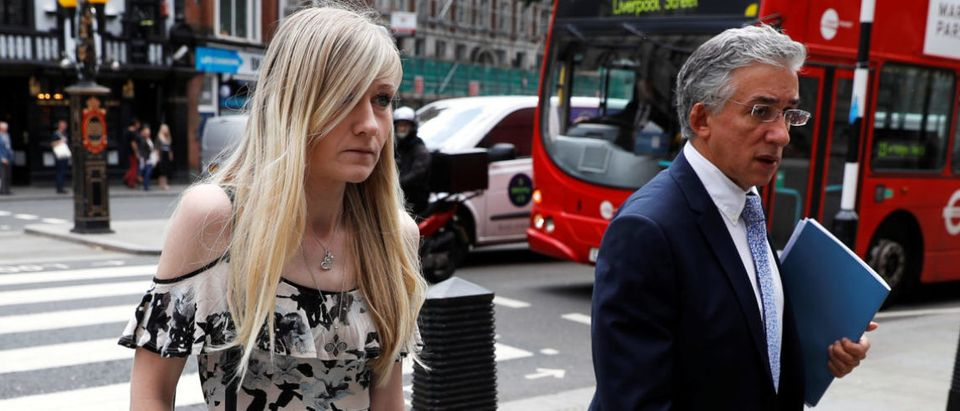 Charlie Gard's mother Connie Yates and her lawyer arrive at the High Court for a hearing on her son's end of life care, in London