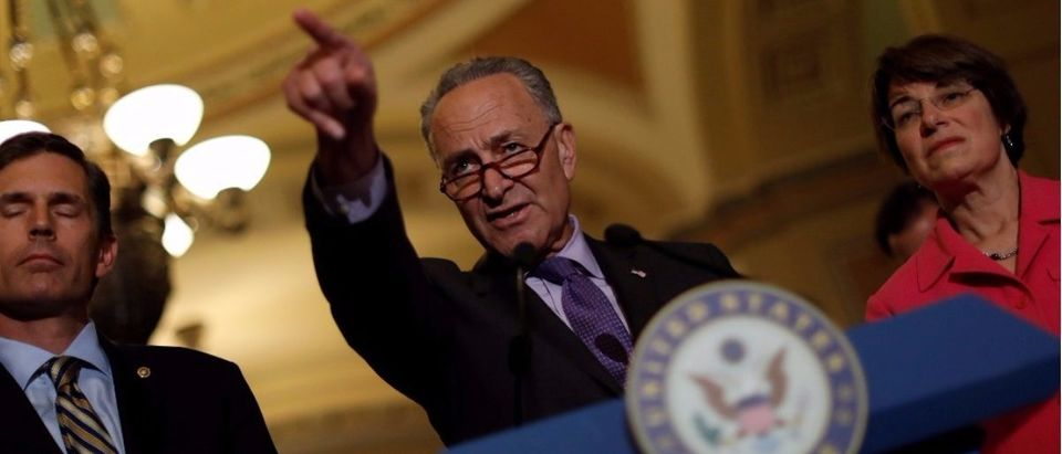 Senate Minority Leader Chuck Schumer speaks with the media about the recently withdrawn healthcare bill on Capitol Hill in Washington, U.S., July 18, 2017. (Photo: REUTERS/Aaron P. Bernstein.)
