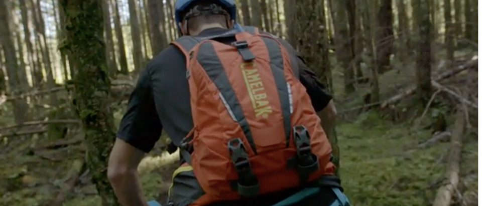 This is a CamelBak hydration pack (Amazon Videos screenshot)