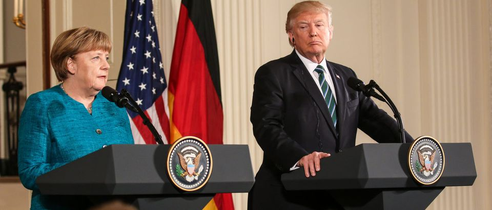 Shutterstock/ Washington, DC – March 17, 2017: German Chancellor Angela Merkel and US President Donald Trump hold a joint press conference at the White House after their first in-person meeting.
