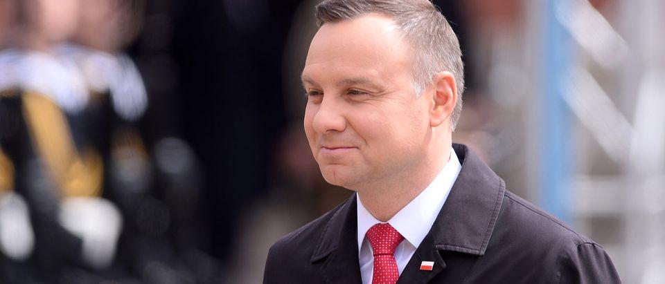Shutterstock/ WARSAW, POLAND - MAY 02, 2017: National Flag Day - President of Poland Andrzej Duda