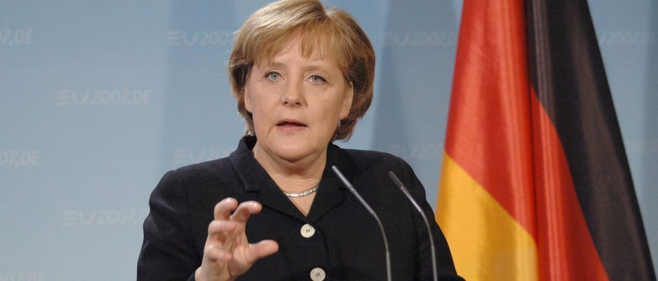 Shutterstock/ FEBRUARY 13, 2007 - BERLIN: German Chancellor Angela Merkel at a press conference after a meeting with the British Prime Minister in the Chanclery in Berlin.