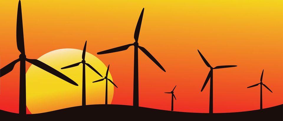 wind farm silhouette, vector image, alternative energy (Shutterstock/ikitina Olga)