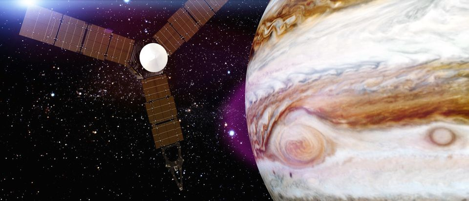 Jupiter and satellite Juno Elements of this image furnished by NASA