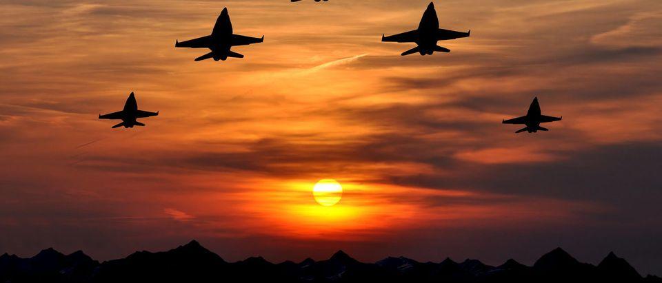 Five bombers over sunset (Shutterstock/Vaclav Volrab)