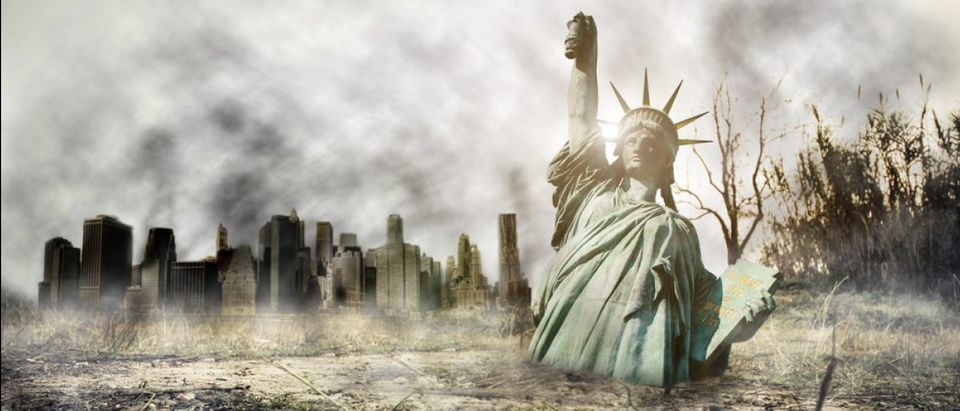 Apocalypse in New york. Fantasy concept about apocalyptic scenario