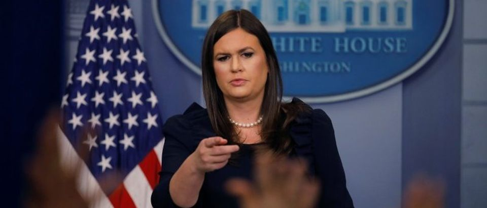 White House Press Secretary Sarah Huckabee Sanders holds the daily briefing at the White House in Washington