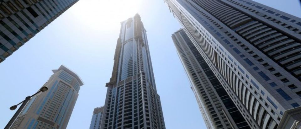 The Torch tower residential building in the Marina district is seen after a fire, in Dubai